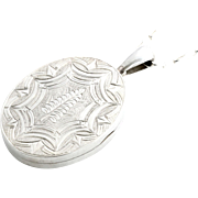 Extra Large Victorian Aesthetic Sterling Silver Locket with Fern Motif - Circa 1875