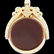 Antique Bloodstone & Carnelian 9ct Gold Swivel Fob Pendant- Circa 1899