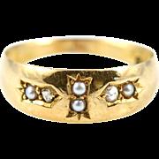 Fine Victorian Diamond & Pearl 15ct Gold Ring - Circa 1887