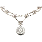 Antique Victorian Locket, Bracelet & Earrings Set -  Victorian Aesthetic Book-Chain Collar Set - Circa 1850