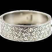 Victorian Aesthetic Silver Cuff Bangle- Circa 1884