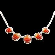 Antique Scottish Silver Orange Agate Necklace- Circa 1910