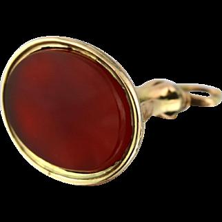18ct Gold Antique Carnelian Fob (Blank) - Circa 1850