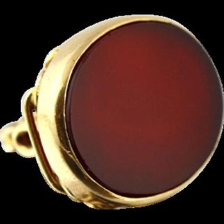 Superb 9ct Gold Blank Carnelin Fob Pendant - Circa 1850
