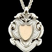Decorative English Silver Fob Medal Pendant and Chain - Circa 1911