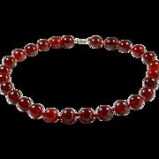Art Deco Cherry Amber Bakelite Necklace- Circa 1920