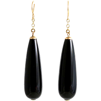 Art Deco Onyx Drop Earrings on 9ct Gold - Circa 1920