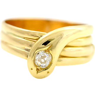 Victorian Snake Ring - 18ct Gold & Old Cut Diamond - Circa 1857