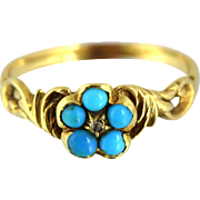 Georgian Turquoise Diamond Gold Cluster Flower Ring - Circa 1810