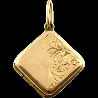 Sweet Vintage 9ct Gold Square Locket - Circa 1940