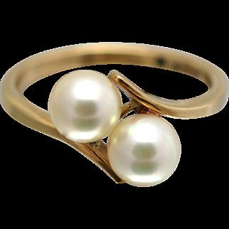 Beautiful Twin Pearl Ring in 9ct Yellow Gold - Circa 1980