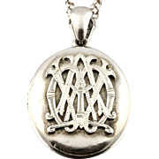 "Victorian Sterling Silver Monogram Locket with 28"" Chain - Circa 1850"