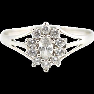 Pretty 9ct White Gold Diamante Cluster Ring