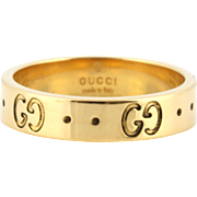 GUCCI 18ct Gold Icon Band Ring - Double 'G' Motif - Gucci Made in Italy