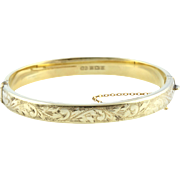 Victorian Revival Gold Plated Sterling Silver Bangle - 1970's Retro