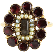 Georgian Flat Topped Garnet & Seed Pearl Ring - c.1830