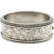 Chunky Victorian Aesthetic Sterling Silver Bangle - 19th Century Antique