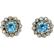 Spectacular Late Georgian Silver Zircon Cluster Earrings - c.1830