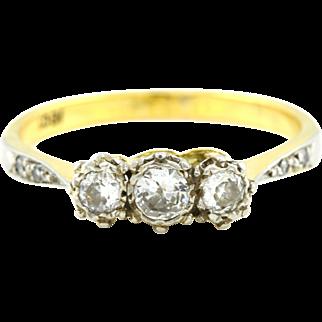 Gorgeous 18ct Gold Art Deco 0.35pt Diamond Trilogy Ring - c.1920