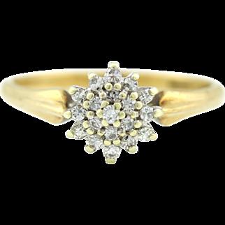 Gorgeous Vintage 9ct Gold Flower Diamond Cluster Ring - c.1987