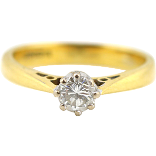 Classic 18ct Gold 0.25ct Diamond Solitaire Engagement Ring