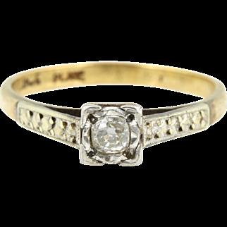 Unique Platinum & 9ct gold Art Deco Diamond Ring - c1920