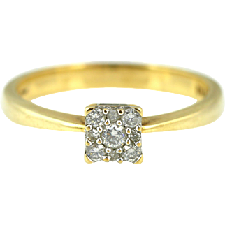Fine 9ct Gold Cluster 0.15ct Diamond Ring
