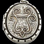 Large Ornate Victorian Aesthetic Silver Locket - c.1884