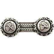 Beautiful Victorian Aesthetic Silver Bar Brooch - c1890