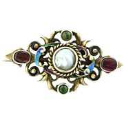 Fine Austro-Hungarian Silver Brooch with Garnet, Pearl and Enamel - c.1890