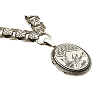 Spectacular Victorian Silver Book Chain & Locket - 1880