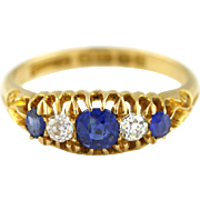 Sumptuous Sapphire & Diamond 18ct Gold Antique Boat Ring - c.1905