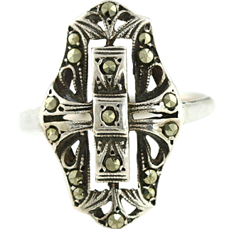 Extraordinary Shield Shaped Art Deco Silver & Marcasite Ring - c.1920
