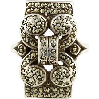 Heavy Art Deco Silver & Marcasite Statement Ring - c.1920