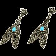 Vintage Silver Marcasite & Turquoise Art Nouveau Style Drop Earrings