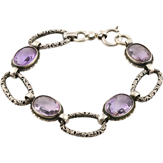 Rare Continental Silver and Amethyst Filigree Bracelet - c.1922