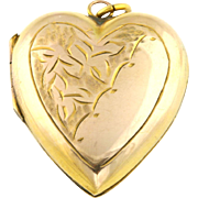 "Victorian 9ct Gold ""Puffy"" Heart Locket with Chain - Circa 1800s"