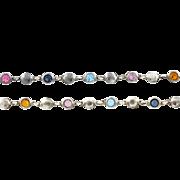 Cute Vintage Silver Rainbow Necklace and Bracelet Set