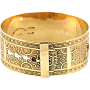 Art Deco 9ct Gold Back and Front Buckle Bangle - c.1930