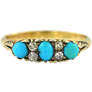 Superb Victorian Turquoise and Diamond Ring with Gorgeous Scrolled Setting - c.1800