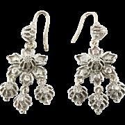 Antique Georgian Silver Diamond Chandelier Earrings c.1800