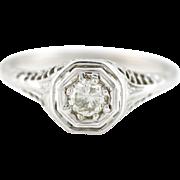 Platinum Art Deco Diamond Filigree Ring (0.25ct) -c.1930