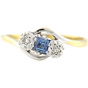 Pretty 18ct Gold Art Deco Sapphire and Diamond Trilogy Ring - c.1920