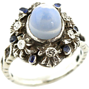 Rare Arts & Crafts Period Silver & Moonstone Ring with Pretty Sapphire Halo -c.1890