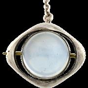 Rare Art Nouveau Jugendstil Silver Moonstone Brooch -c.1900
