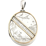Fine Silver and Rose Gold Victorian Aesthetic Locket with Charming Owl & Heron- c.1885