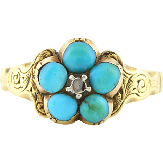 Antique 15ct Gold Turquoise and Diamond