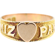 Sweet Antique 9ct Gold Mizpah Ring with Heart -c.1901