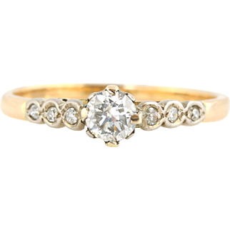 18ct Gold Art Deco Diamond Solitaire Engagement Ring, 0.40ct - c.1930
