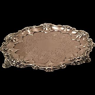 Antique Georgian Sterling Silver Ornate Salver Tray E.J.W. Barnard 1830 8.25 Inch 312 Grams